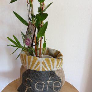 Cache pot en jute – sac de café Brésil-