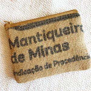 Porte monnaie en jute et tissu – Minas –